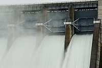 NWA Democrat-Gazette/BEN GOFF @NWABENGOFF<br /> Water flows through the spillway gates Thursday, Nov. 7, 2019, at Beaver Dam. The U.S. Army Corps of Engineers posted on their facebook page Thursday afternoon that all seven gates were open 1 foot, in addition to the water being released through the generators, to pass runoff from this week's rainfall.
