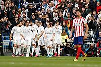 1st February 2020; Estadio Santiago Bernabeu, Madrid, Spain; La Liga Football, Real Madrid versus Atletico de Madrid; Karim Benzema (Real Madrid)  celebrates his goal which made it 1-0 in the 56th minute
