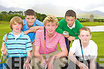 Competing in the County Junior golf championships in Beaufort on Thursday was front row l-r: Paul Fenn Ballybunion, Jason Lynch Castleisland, Gary Fenn Ballybunion, Cathal Rogers and Dylan Fitzgerald Tralee
