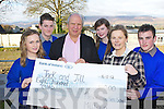 Milltown Presentation students present Jonathan Irwin the CEO of the Jack and Jill Foundation a cheque of ?800 when he visited the school on Thursday l-r: Emma O'Sullivan, Gavin Casey, Jonathan Irwin ,Amy Cahill, Miss Mary Costello and Chris Flynn .
