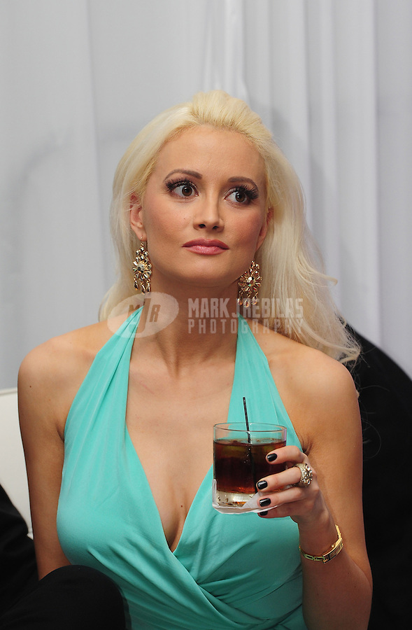 Feb 4, 2012; Indianapolis, IN, USA; Playboy playmate Holly Madison in attendance at the Leather and Laces event at the Regions Bank Tower. Mandatory Credit: Mark J. Rebilas-