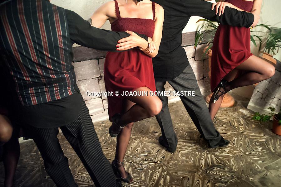 Dancers posing before a performance at the local La Pe&ntilde;a Friends of Tango in Alicante.<br />  PHOTO &copy; JOAQUIN GOMEZ  SASTRE