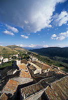 An aerial view of the roofs at Santo Stefano di Sessanio a historical village in the Gran Sasso National Park