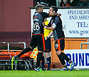 Killie's Manuel Pascali celebrates with Josh Magennis (28) after he scores their goal.