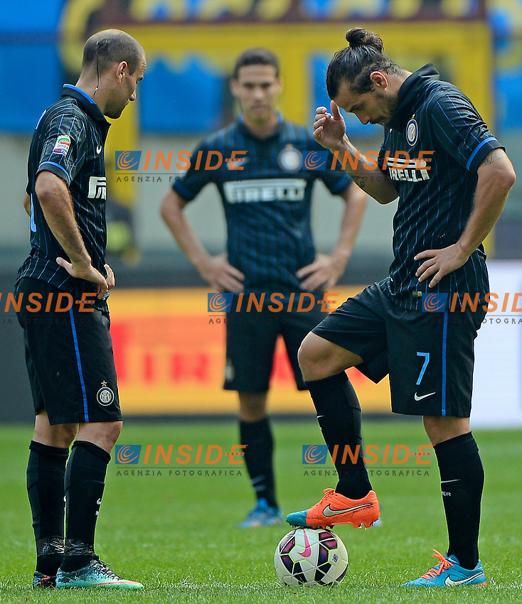 Rodrigo Palacio, Daniel Pablo Osvaldo Inter<br /> Milano 28-09-2014 Stadio Giuseppe Meazza - Football Calcio Serie A Inter - Cagliari. Foto Giuseppe Celeste / Insidefoto