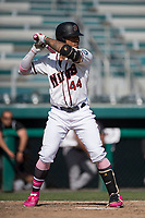 Modesto Nuts center fielder Gareth Morgan (44) at bat during a California League game against the Lake Elsinore Storm at John Thurman Field on May 13, 2018 in Modesto, California. Lake Elsinore defeated Modesto 4-3. (Zachary Lucy/Four Seam Images)