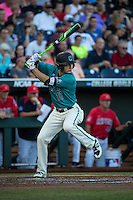 Billy Cooke #17 of the Coastal Carolina Chanticleers bats during a College World Series Finals game between the Coastal Carolina Chanticleers and Arizona Wildcats at TD Ameritrade Park on June 28, 2016 in Omaha, Nebraska. (Brace Hemmelgarn/Four Seam Images)