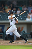Zander Clarke (10) of the Augusta GreenJackets follows through on his swing against the Kannapolis Intimidators at SRG Park on July 6, 2019 in North Augusta, South Carolina. The Intimidators defeated the GreenJackets 9-5. (Brian Westerholt/Four Seam Images)