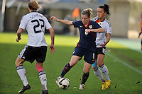 Amy Rodriguez challenges the German defense.  The USA captured the 2010 Algarve Cup title by defeating Germany 3-2, at Estadio Algarve on March 3, 2010.