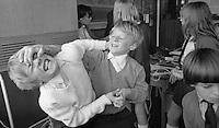Fighting, Whitworth Comprehensive School, Whitworth, Lancashire.  1970.