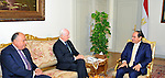Egyptian President Abdel Fattah al-Sisi (R) meets with UN Syria envoy, Staffan de Mistura (L), in Cairo on October 21, 2015. Syrian President Bashar Assad visited Russia and had talks with his Russian counterpart Vladimir Putin. The Russian president later talked by phone to Turkish President Recep Tayyip Erdogan and Saudi Arabia's King Salman, key backers of the Syrian opposition, before Russian state media unveil a meeting between foreign ministers of Russia, Turkey, the United States and Saudi Arabia to be held in Vienna on 23 October. Photo by Egyptian President Office
