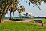 The Vinoy Park in St. Petersburgh, Florida with Tampa Bay and the colorful Pier of St. Petersburgh in the background