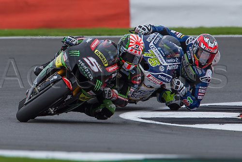 26th August 2017, Silverstone Circuit, Northamptonshire, England; British MotoGP, Qualifying; Monster Yamaha Tech 3 MotoGP rider Johann Zarco followed by Reale Avintia Racing MotoGP rider Loris Baz
