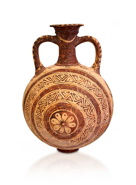 Minoan decorated flask with concentric decorative bands design , Konssos  Temple Tomb 1400-1250 BC; Heraklion Archaeological Museum., white background
