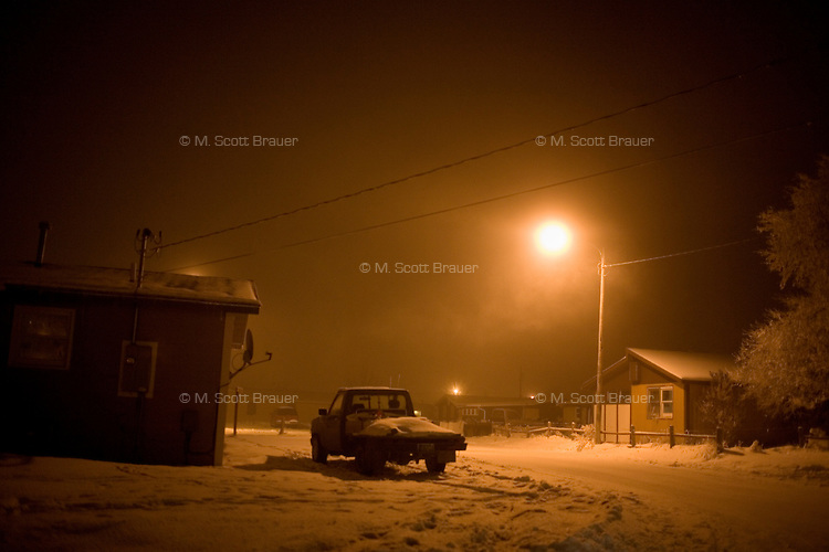 Residential areas of Fort Belknap Agency, Montana, USA, at night.