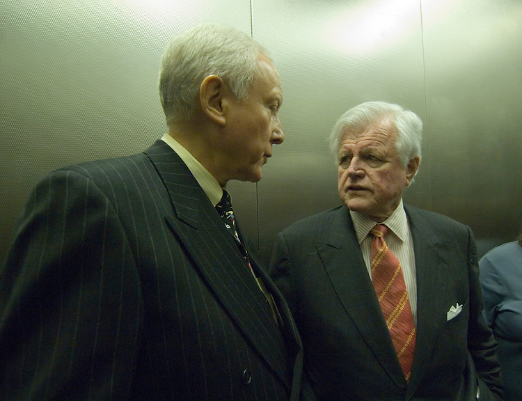 "Senate Health, Education, Labor and Pensions Chairman Edward Kennedy, D-Mass. And Sen. Orrin Hatch, R-Utah;  talk in the elevator after addressing the Alliance for Health Reform news conference, ""Reaching Out: Enrolling and Keeping Kids in the State Children's Health Insurance Program (SCHIP).""."