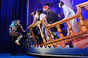 London, UK. 08.12.2015. Mischief Theatre Company presents PETER PAN GOES WRONG, at the Apollo Theatre. Co-written by Henry Lewis, Jonathan Sayer & Henry Shields, directed by Adam Meggido. Picture shows:  Ellie Morris (Tootles), Chris Leask (Stage Manager), Henry Lewis (Starkey), Charlie Russell (Wendy Darling), Tom Edden (Cecco the Pirate). Photograph © Jane Hobson.