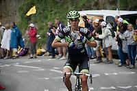 Vegard Breen (NOR/Fortuneo-Vital Concept) preparing old school style for the (colder) descent off the Montée de Bisanne (HC/1723m/12.4km/8.2%)<br /> <br /> Stage 19:  Albertville › Saint-Gervais /Mont Blanc (146km)<br /> 103rd Tour de France 2016