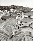 CHINA, Putou Shan, a view of the roof tops of Putou Shan (B&W)