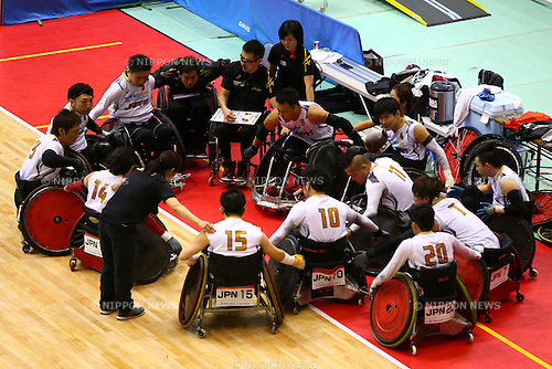 Japan team group (JPN), October 29, 2015 - Wheelchair Rugby : IWRF 2015 Asia-Oceania Championship Preliminary League match between Japan - New Zealand at Chiba Port Arena in Chiba, Japan. (Photo by Shingo Ito/AFLO SPORT)