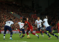 27th October 2019; Anfield, Liverpool, Merseyside, England; English Premier League Football, Liverpool versus Tottenham Hotspur; Sadio Mane of Liverpool takes on Serge Aurier of Tottenham Hotspur on the edge of the penalty area - Strictly Editorial Use Only. No use with unauthorized audio, video, data, fixture lists, club/league logos or 'live' services. Online in-match use limited to 120 images, no video emulation. No use in betting, games or single club/league/player publications