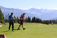 Andy Sullivan (ENG) and Sean McDonagh walk onto the 7th tee during Sunday's Final Round 4 of the 2018 Omega European Masters, held at the Golf Club Crans-Sur-Sierre, Crans Montana, Switzerland. 9th September 2018.<br /> Picture: Eoin Clarke | Golffile<br /> <br /> <br /> All photos usage must carry mandatory copyright credit (&copy; Golffile | Eoin Clarke)