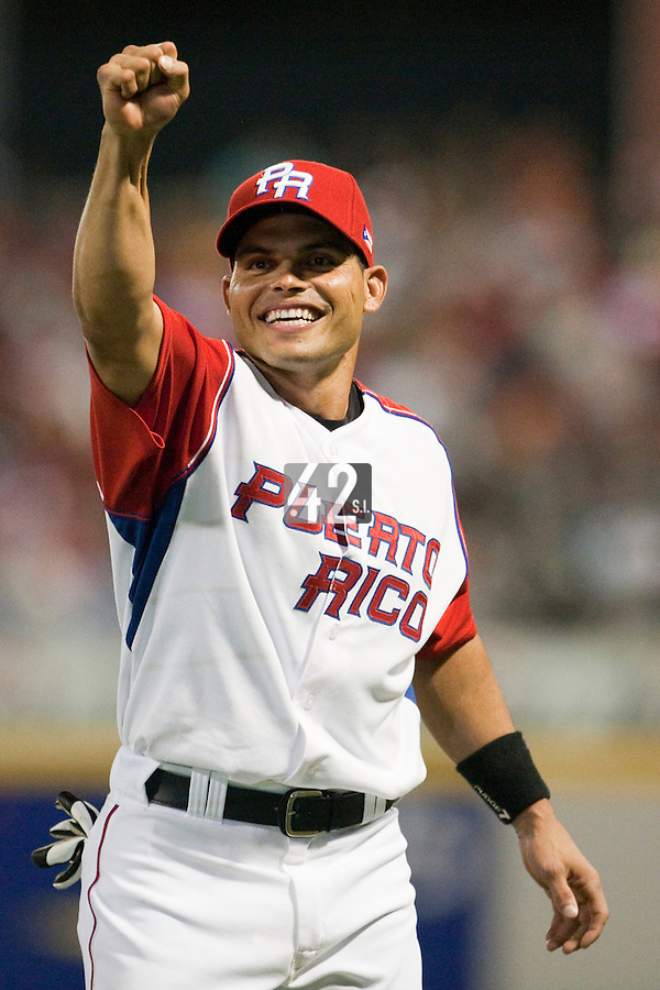 9 March 2009: #7 Ivan Rodriguez of Puerto Rico reacts after the 2009 World Baseball Classic Pool D game 4 at Hiram Bithorn Stadium in San Juan, Puerto Rico. Puerto Rico wins 3-1 over Netherlands