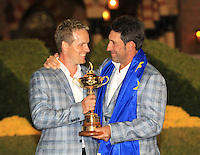 Winning captain Jose Maria Olazabal and Luke Donald with the Ryder Cup at the end of Sunday's singles matches at the Ryder Cup 2012, Medinah Country Club,Medinah, Illinois,USA 30/09/2012.Picture: Fran Caffrey/www.golffile.ie.