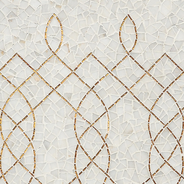 Luc, a hand-cut mosaic shown in Afyon White and 24K Gold Glass, is part of the Aurora™ Collection by Sara Baldwin for New Ravenna.