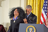 United States President Barack Obama presents the Presidential Medal of Freedom to singer Diana Ross during a ceremony in the East Room of the White House in Washington, DC on Tuesday, November 22, 2016.  The Presidential Medal of Freedom is the Nation's highest civilian honor.<br /> Credit: Ron Sachs / CNP