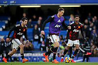 Former Chelsea player, Nemanja Matic of Manchester United warms up pre-match during Chelsea vs Manchester United, Premier League Football at Stamford Bridge on 5th November 2017