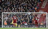 Manchester City's Riyad Mahrez lifts his late penalty effort high over the Liverpool goal<br /> <br /> Photographer Rich Linley/CameraSport<br /> <br /> The Premier League - Liverpool v Manchester City - Sunday 7th October 2018 - Anfield - Liverpool<br /> <br /> World Copyright &copy; 2018 CameraSport. All rights reserved. 43 Linden Ave. Countesthorpe. Leicester. England. LE8 5PG - Tel: +44 (0) 116 277 4147 - admin@camerasport.com - www.camerasport.com