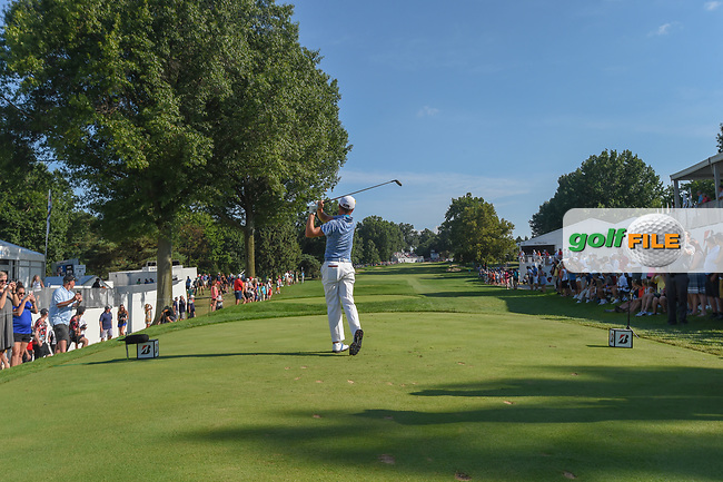 Justin Thomas (USA) watches his tee shot on 17 during 3rd round of the World Golf Championships - Bridgestone Invitational, at the Firestone Country Club, Akron, Ohio. 8/4/2018.<br /> Picture: Golffile | Ken Murray<br /> <br /> <br /> All photo usage must carry mandatory copyright credit (© Golffile | Ken Murray)