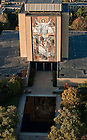 Aerial of the Word of Life Mural on Hesburgh Library, also known as Touchdown Jesus...Photo by Matt Cashore/University of Notre Dame