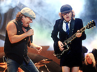 Brian Johnson and Angus Young of AC/DC perform at the Scottrade Center in St. Louis, Mo., on Tuesday, January 13, 2009.