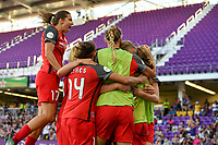Orlando, FL - Saturday October 14, 2017: Tobin Heath and the Portland Thorns FC celebrate their National Women's Soccer League (NWSL) Championship win by defeating North Carolina Courage 1-0 during the NWSL Championship match between the North Carolina Courage and the Portland Thorns FC at Orlando City Stadium.