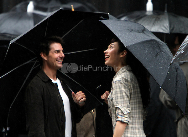 June 12, 2012: Tom Cruise and Olga Kurylenko on the set of the film, Oblivion in New York City. © RW/MediaPunch Inc.