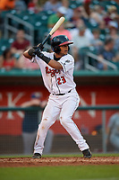 Lansing Lugnuts Gabriel Moreno (23) at bat during a Midwest League game against the Burlington Bees on July 18, 2019 at Cooley Law School Stadium in Lansing, Michigan.  Lansing defeated Burlington 5-4.  (Mike Janes/Four Seam Images)