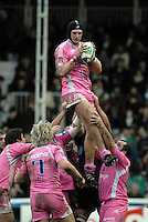 Twickenham, Great Britain, 20/01/2008 Arnaud MARCHOIS, collects the line out ball during the third round, Heineken Cup Match, Harlequins vs Stade Francais at the Twickenham Stoop, England.  [Mandatory Credit Peter Spurrier/Intersport Images