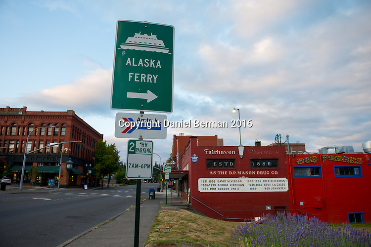 The Fairhaven neighborhood of Bellingham. Washington is home to numerous small shops, quaint restaurants and stunning views of Bellingham Bay from nearby Boulevard Park.