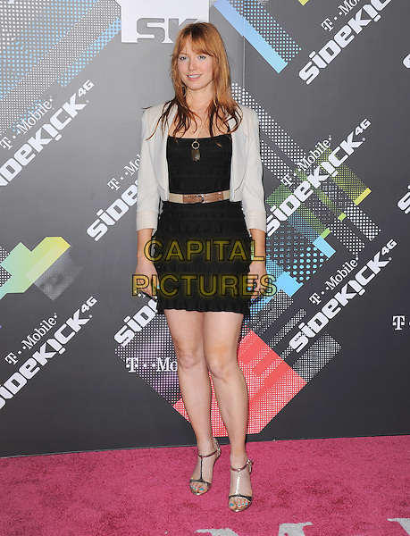 ALICIA WITT .at The T-Mobile Sidekick 4G Launch Party held at a private lot in Beverly Hills, California, USA, April 20th 2011..full length black dress ruffle belt grey gray jacket sandals t-bar .CAP/RKE/DVS.©DVS/RockinExposures/Capital Pictures.