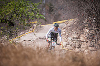 Chelva, SPAIN - MARCH 6: Saul Lopez during Spanish Open BTT XCO on March 6, 2016 in Chelva, Spain