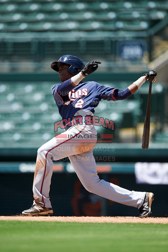 GCL Twins shortstop Gorge Munoz (2) at bat during a game against the GCL Orioles on August 11, 2016 at the Ed Smith Stadium in Sarasota, Florida.  GCL Twins defeated GCL Orioles 4-3.  (Mike Janes/Four Seam Images)