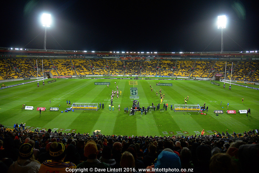 A general view of the Super Rugby match between the Hurricanes and Southern Kings at Westpac Stadium, Wellington, New Zealand on Friday, 25 March 2016. Photo: Dave Lintott / lintottphoto.co.nz
