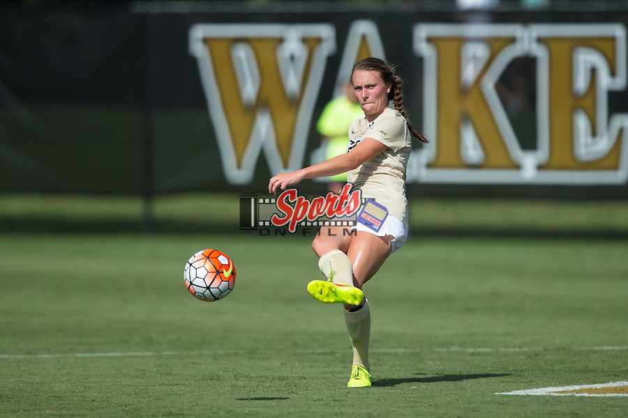 Ally Haran (25) of the Wake Forest Demon Deacons passes the ball during first half action against the Georgia Bulldogs at Spry Soccer Stadium on August 23, 2015 in Winston-Salem, North Carolina.  The Deacons defeated the Bulldogs 4-0.  (Brian Westerholt/Sports On Film)
