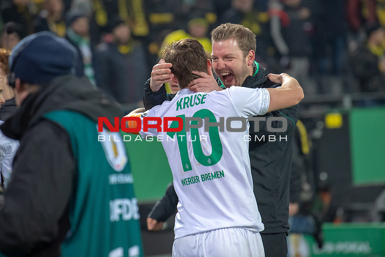05.02.2019, Signal Iduna Park, Dortmund, GER, DFB-Pokal, Achtelfinale, Borussia Dortmund vs Werder Bremen<br /> <br /> DFB REGULATIONS PROHIBIT ANY USE OF PHOTOGRAPHS AS IMAGE SEQUENCES AND/OR QUASI-VIDEO.<br /> <br /> im Bild / picture shows<br /> <br /> Jubel Sieg <br /> Florian Kohfeldt (Trainer SV Werder Bremen) und Max Kruse (Werder Bremen #10)<br /> <br /> Foto © nordphoto / Ewert