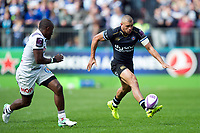 Jonathan Joseph of Bath Rugby puts boot to ball. European Rugby Challenge Cup Quarter Final, between Bath Rugby and CA Brive on April 1, 2017 at the Recreation Ground in Bath, England. Photo by: Patrick Khachfe / Onside Images
