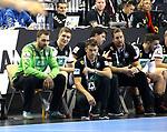 12.01.2019, Mercedes Benz Arena, Berlin, GER, Germany vs. Brazil, im Bild Andreas Wolff (GER #33), Finn Lemke (GER #6), Cheftrainer (Head Coach) Christian Prokop (GER), Co-TrainerAlexander Haase (GER), Teamkoordinator Oliver Roggisch (GER)<br /> <br />      <br /> Foto &copy; nordphoto / Engler
