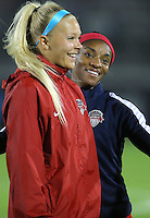 Boyds, MD - Friday Sept. 30, 2016: Line Sigvardsen, Crystal Dunn prior to a National Women's Soccer League (NWSL) semi-finals match between the Washington Spirit and the Chicago Red Stars at Maureen Hendricks Field, Maryland SoccerPlex. The Washington Spirit won 2-1 in overtime.