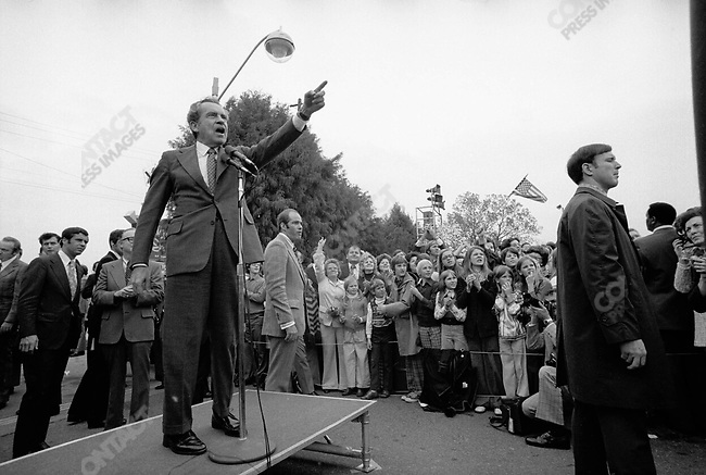 Richard Nixon speaks to supporters during a presidential trip to Florida, November 1973